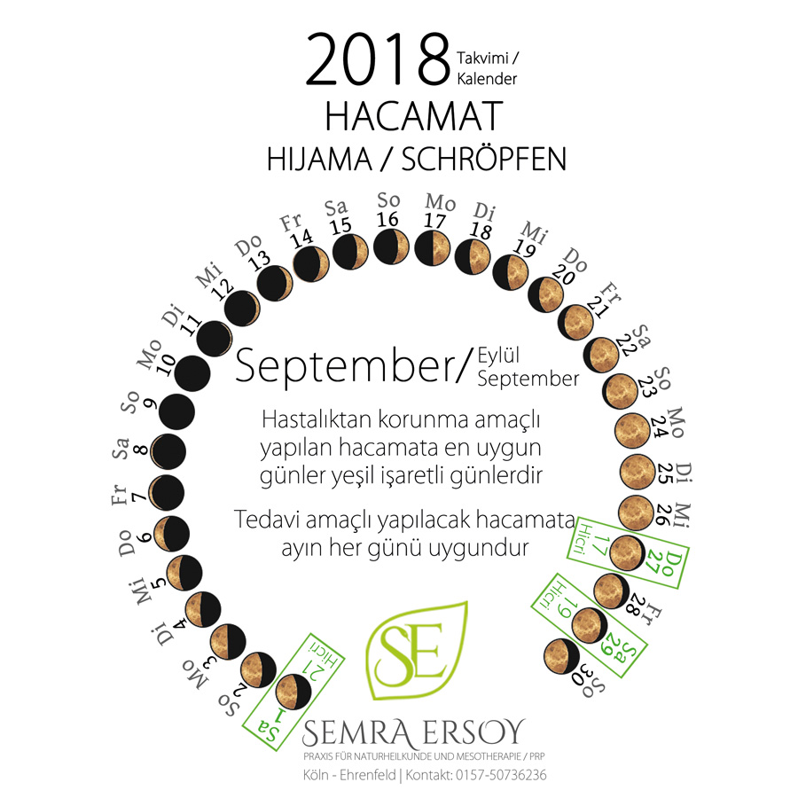 Hacamat Takvimi Eylül 2018